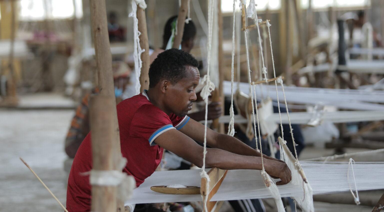 Dedicated artisan weaving textiles.